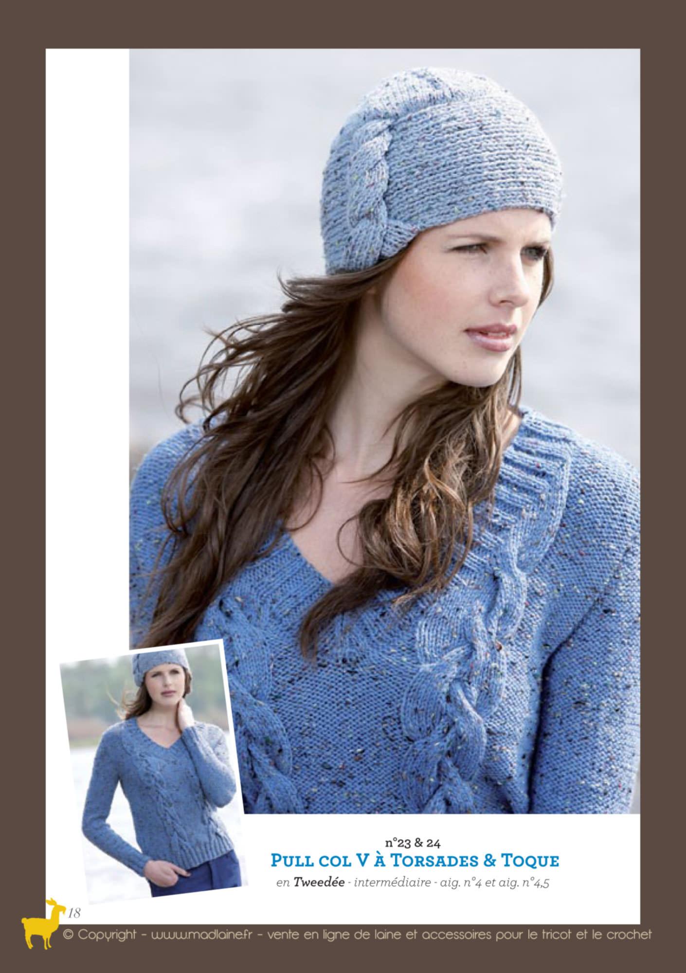 modèle gratuit tricot pull col v femme