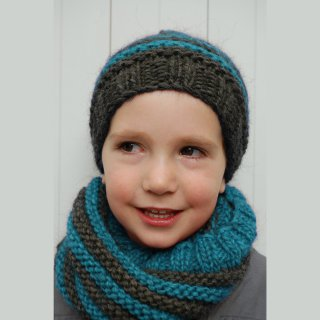 Kit Snood et Bonnet Crockett Bleu - Madlaine