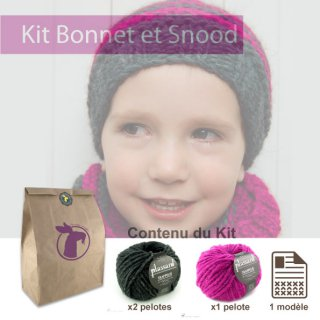 Kit Snood et Bonnet Crockett Rose - Madlaine