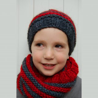Kit Snood et Bonnet Crockett Rouge - Madlaine