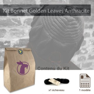 Kit Bonnet Golden Leaves Anthracite - Madlaine