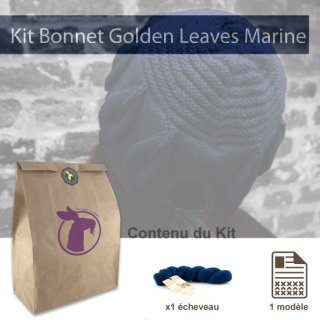 Kit Bonnet Golden Leaves Marine - Madlaine