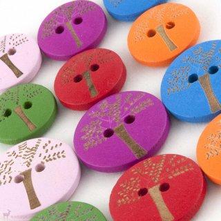 Boutons en bois colorés 15mm - NoName Yarn