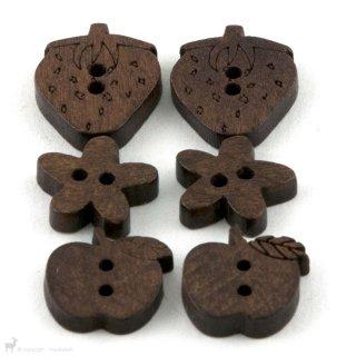 Boutons en bois forme - NoName Yarn