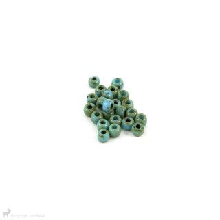 Perles rocailles 6/0 Opaque Turquoise Blue Picasso 4514 - Miyuki