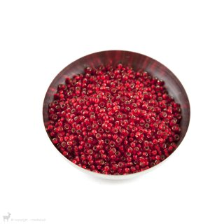 Perles rocailles 8/0 Silverlined Flame Red 10