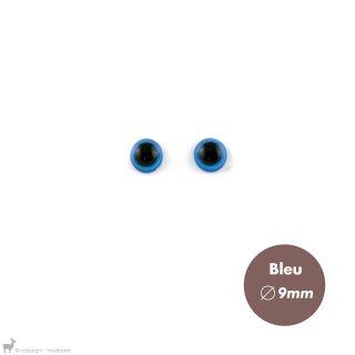 Yeux Sécurisés 9mm Bleu