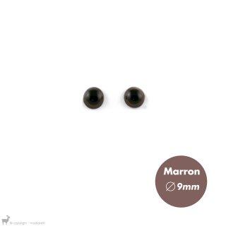 Yeux Sécurisés 9mm Marron