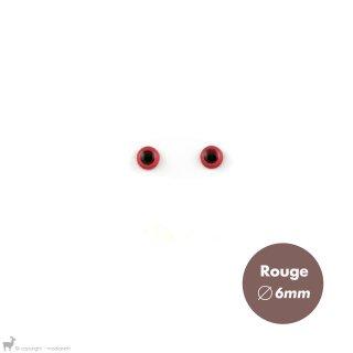 Yeux Sécurisés 6mm Rouge