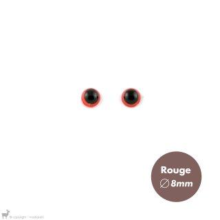 Yeux Sécurisés 8mm Rouge