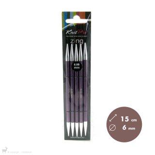 Aiguilles double pointe Zing 15cm 6mm - KnitPro