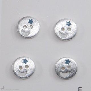 Boutons Boutons 12mm Argenté Lune et Etoile Bleue