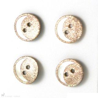 Boutons Boutons 14mm Doré et Lune Nacre