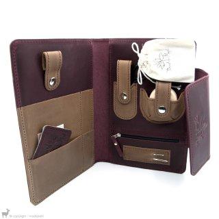 Petit matériel Thread And Maple Pochette à accessoires complète en cuir Wine/Cream