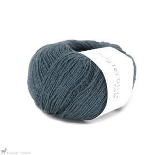 Fil de soie Knitting For Olive Pure Silk Deep Petroleum Blue