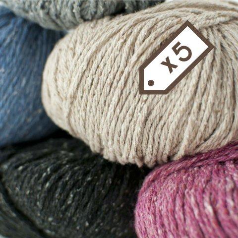 Lot de 5 pelotes de laine Ecotweed - Plassard