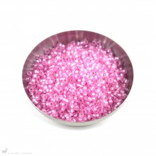 Perles rocailles 8/0 Silverlined Dyed Carnation Pink 22