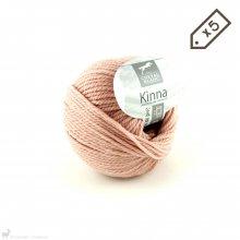 Laine de mouton Lot de 5 pelotes de Kinna Rose Rosée 108