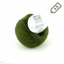 Laine de mouton Lot de 5 pelotes de Kinna Vert Forêt 49