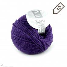 Laine de mouton Lot de 5 pelotes de Kinna Violet 061