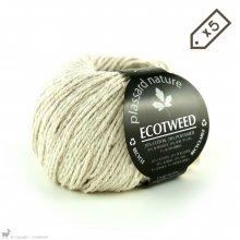 Fil de soie Lot de 5 pelotes d'Ecotweed Blanc Meringue 01